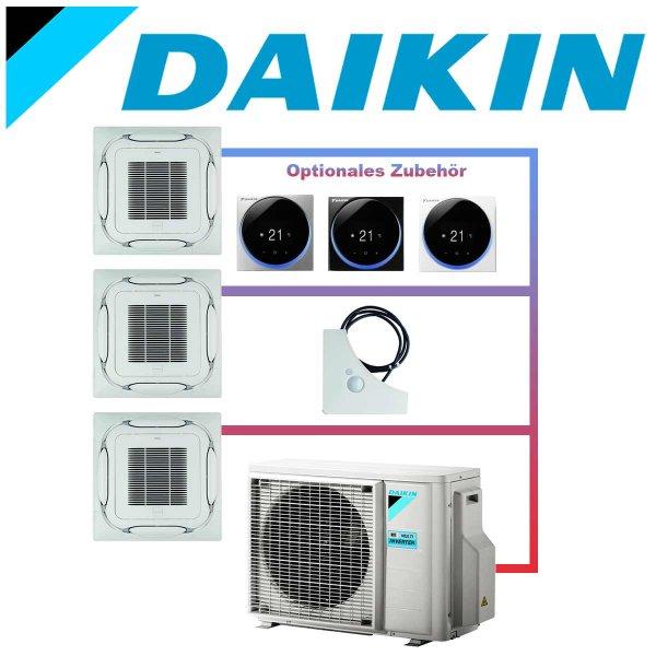 SET DAIKIN 3x Roundflow FCAG 3,5kW Deckenkassetten selbstreinigend weiß inkl. Außeneinheit 9kW