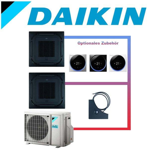 SET DAIKIN 2x Roundflow FCAG 5kW Deckenkassetten selbstreinigend schwarz inkl. Außeneinheit 9kW