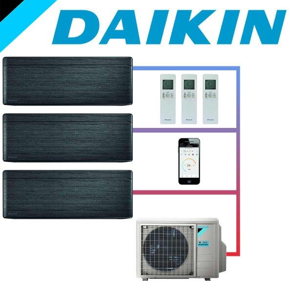 SET DAIKIN STYLISH mit 3 Wandgeräten 3,5 kW Blackwood und Außeneinheit 8 kW