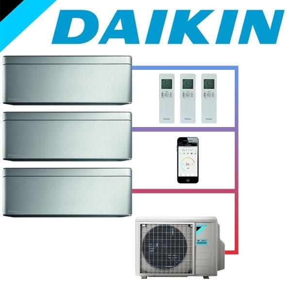 SET DAIKIN STYLISH mit 3 Wandgeräten 3,5 kW Silber und Außeneinheit 8 kW