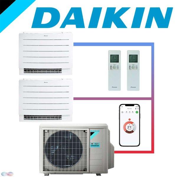 SET DAIKIN Perfera mit 2 Truhengeräten FVXM25A 2,5 kW und Außeneinheit 5 kW