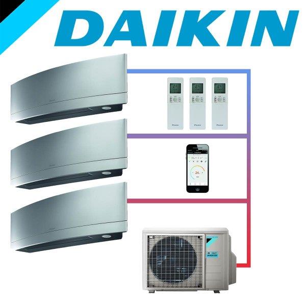 SET DAIKIN EMURA mit 3 Wandgeräten 2,5 kW Silber und Außeneinheit 6,8 kW